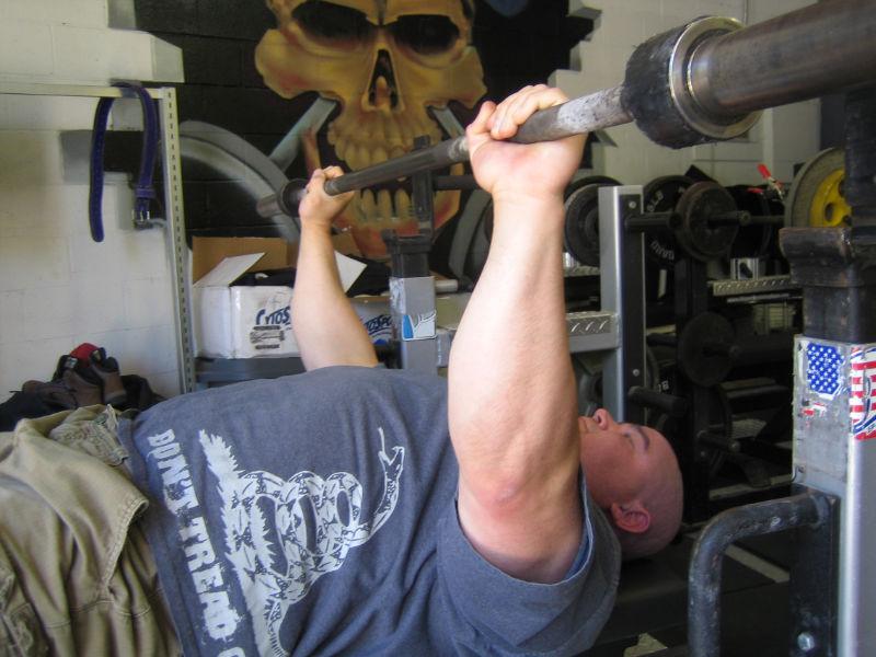 tim doing bench press